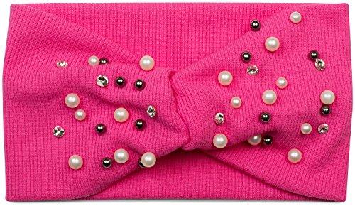styleBREAKER Damen Haarband in Feinripp Optik mit Schleife, Strass und Perlen, Twist Knoten, Stirnband, Headband 04026011, Farbe:Pink