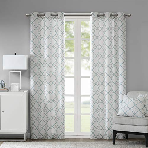"""Madison Park Hayes Cotton Duck Printed Grommet Window Curtain Panels Pair Drapes for Bedroom Living Room and Dorm, 42"""" W x 84"""" L, Aqua"""