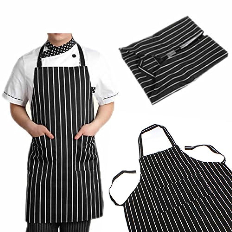 attachmenttou ブラックストライプビブエプロン 2つのポケット付き キッチン料理 耐久性のある 有用 調節可能な 大人