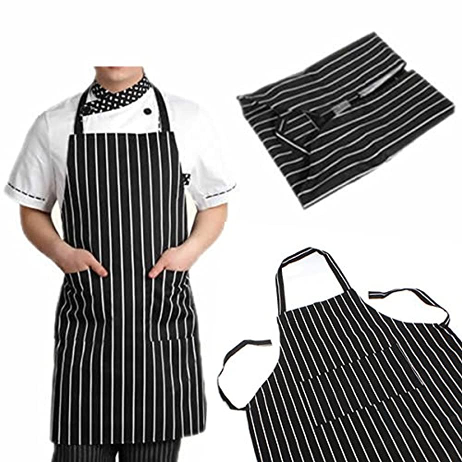 学校教育シーケンスメールattachmenttou ブラックストライプビブエプロン 2つのポケット付き キッチン料理 耐久性のある 有用 調節可能な 大人
