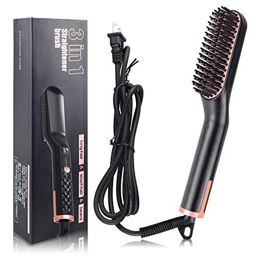 Beard Straightener, Hair Straightener Brush Comb, 3 in 1 Best Ceramic Beard Straightening Brush Three Modes Technology Multi-function Hair Comb for Hairy Styling for Men