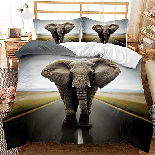 Biancheria da letto XIJIE, copripiumino in microfibra stampato in 3D, federa, biancheria da letto a forma di elefante per ragazzi e ragazze, adulto, set di tre pezzi