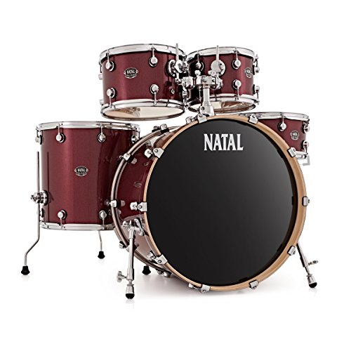 Natal Arcadia LA Rock Birch Drum Kit Shell Pack, Red Sparkle