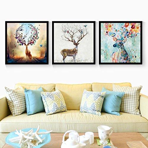 Everyday home 3 Multi murale Set solide bois style européen Elk Triptyque salon murale pour salon/avec des photos (Couleur : Black box, taille : 40 * 40cm)