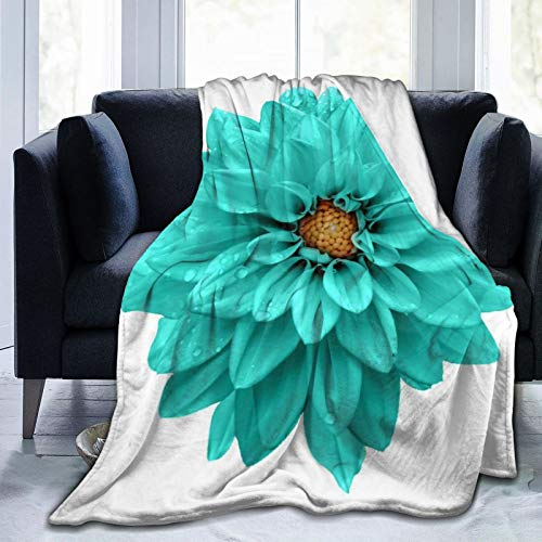 Nongmei Manta de Tiro Personalizada,Verde Amarillo Turquesa Flor Dalia Macro Blanco Azul Belleza Planta Mojada,Manta de Felpa Suave para sofá,Dormitorio,Viaje,Manta mullida 50'X60'
