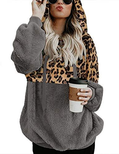 Romanstii Damen Kapuzenpullover Oversize Winter Sweatshirt Teddy Fleece Mantel mit Taschen