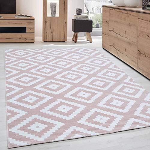 Ayyildiz Teppich Tapis de Salon Moderne Elegance à Poils Courts Rose poudré  Blanc, 120 x 170 cm