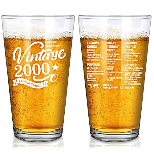 Vintage 2000 Old Time Information 21st Birthday Gifts for Men Women Beer Glass – Funny 21 Year Old Presents - 16 oz Pint Glasses Party Decorations Supplies-21 Year Old Birthday Party Decorations