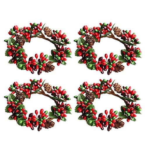 VALICLUD 4 Stücke Weihnachten Kerzenring Beerenkranz Weihnachtskranz Adventskranz Tischkranz Beerengirlande Serviettenringe Tischdekoration DIY Weihnachtsdeko Xmas Deko Weihnachtsbaum Anhänger