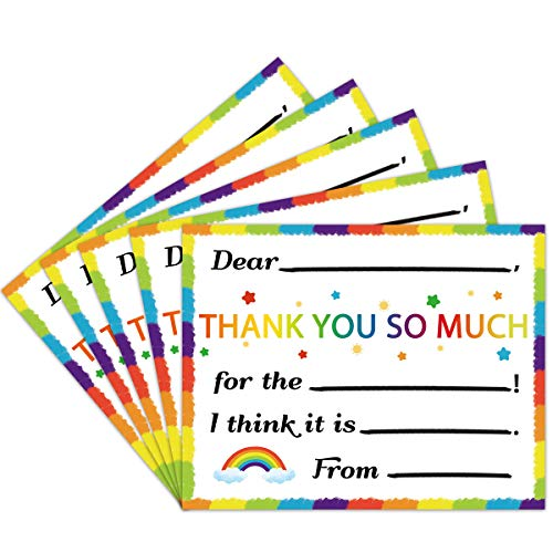 36 Thank You Cards for Kids Fill in the Blank Cards Rainbow Greeting Cardswith Envelopes and Stickers for Birthday Party Favor