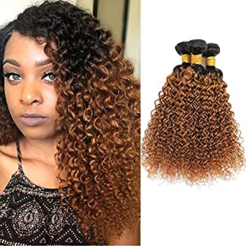 Dalina 1B/30 Curly Hair 3 Bundles Brazilian Kinky Curly Human Hair Extension Bundles Ombre Brown Kinky Curly Weave Bundles 3 Pieces 300 Gram 8 10 12 Inch