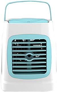 Aire Acondicionado Portátil, Climatizador Y Humidificador, Mini Purificador De Climatizador Evaporativo, con Luz Colorida De Noche, para La Oficina En El Hogar (Aire Acondicionado Móvil),Azul