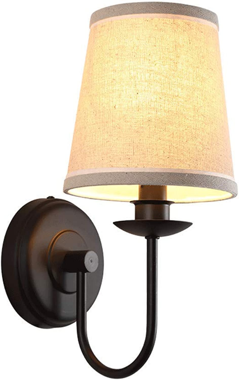 ZHAS Amerikanische Schlafzimmer-Nachtwohnzimmer-Ganglichter lesen Wandlampe der einfachen Wand des Textils