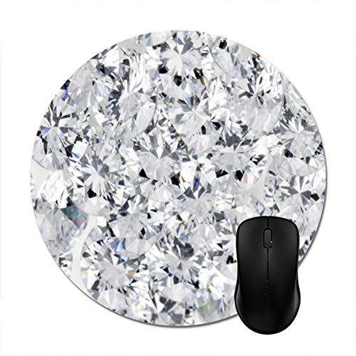 Goodaily White Diamond Mouse Pad Stylish Office Desktop Game Accessory 8in