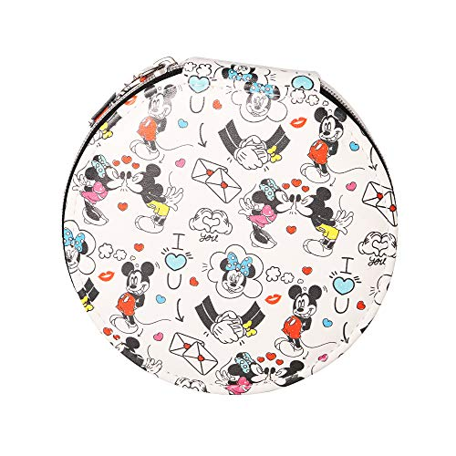Disney Boîte à bijoux de voyage en similicuir Mickey et Minnie Mouse I Love You