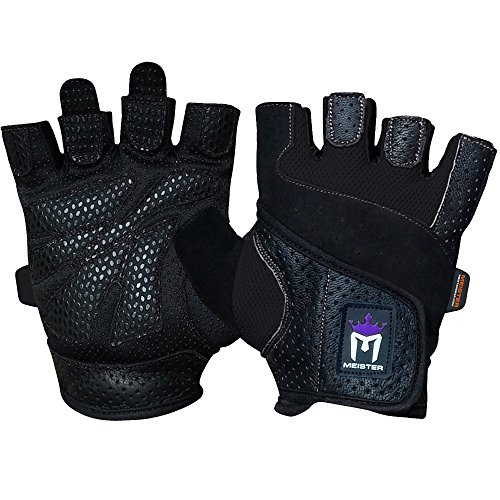 Meister Women's Fit Grip Weight Lifting Gloves w/Washable Amara Leather