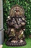 "Ebros 34"" Tall Large Hindu God Nritya Ganesha Chaturthi Sitting On Fire Throne with Giant Mouse Vahana Statue Ganapati Elephant Deity Patron of Success and Arts Hinduism Vastu Altar Decorative"
