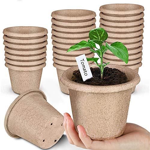 ANGTUO Peat Pots for Garden Seedling Tray 4in 100% Eco-Friendly Organic Germination Seedling Trays Biodegradable 30 Pack and 20 Plastic Plant Markers Included