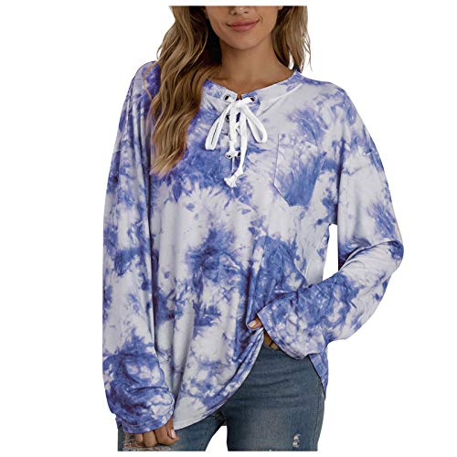 Women's O Neck Tops Loose Long Sleeve Tie-Dye Printing Tee Shirts Soft Blouses Blue