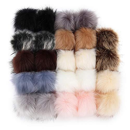 OTOTEC Juego de 24 pompones esponjosos de piel de bricolaje con lazos elásticos de lana artificial de 12 colores para sombrero de ropa mochila