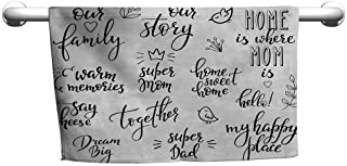 DIMICA Bathroom Hand Towels Set Family Various Calligraphy Family Lettering Set Sweet Collection Birds Crown Blooms Personalized Bath Sheet 35 x 12 inch Black Light Grey