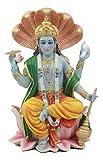 Ebros Hindu God Vishnu Vasudeva Sitting On Throne of Cobras Statue Preserver and Protector Blue Avatar Figurine Eastern Enlightenment Sculpture