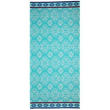 Cotton Craft - 2 Pack - Jacquard Double Woven Velour Beach Towel 32x63 - Summer Trellis - Thick Plush Luxurious Velour Pile - 450 GSM - 100% Pure Ringspun Cotton - Brilliant Vibrant Colors