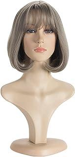 Padom short bobo wig with bangs, straight hair, make the face look smaller (Gray)