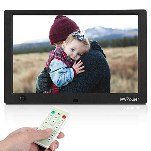 MVPower 10 Zoll Digitaler Bilderrahmen mit Fernbedienung,1280x800 IPS-Display Foto/Musik/Video Player,Bewegungssensor,Automatisches AN/AUS,Unterstützt 1080p -Video,USB SD und SDHC,Muttertagsgeschenk