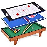 COSTWAY Multi Game Table, Combo Table with Football, Table Tennis, Air Hockey and Billiard, Wood Foosball Table Top for Game Rooms, Arcades, Bars, Parties (3 in 1)