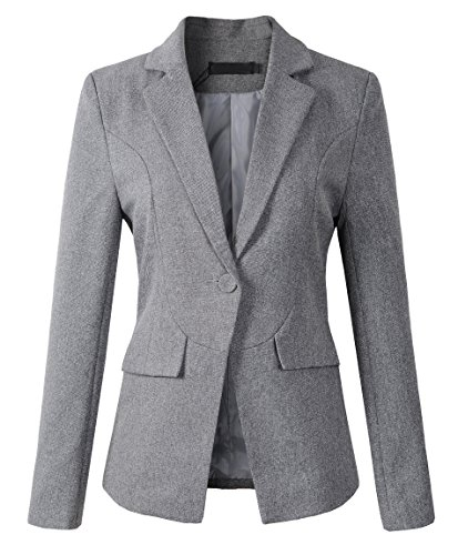 Womens Formal One Button Boyfriend Blazer Jacket (1513 Grey, L)
