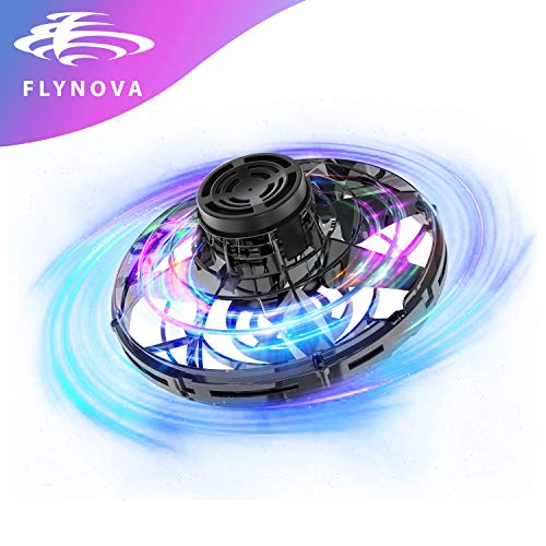 GESUNDHOME FlyNova Flying Toys for Kids Toddlers Adults - Hand Operated Drones for Indoor & Outdoor - UFO Flying Toy with 360° Rotating and 5 Shinning LED Lights(Black)