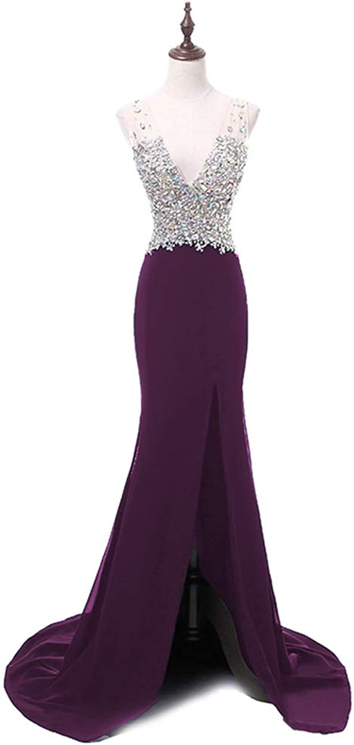 LiBridal Women's Sexy V Neck Beaded Prom Evening Dress,Mermaid Formal Ball Gowns with Split
