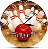 WYDSFWL Reloj de Pared So I Roll Bowling Reloj de Pared Silencioso tictac Bola de Bolos y bolígrafos Decoración del hogar Reloj Moderno Reloj de Pared Regalo de Bolos Silencioso Fácil de Leer
