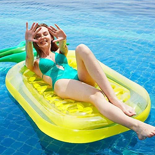 CMMT poolflotte flytande rad luftsäng strand kust ananas tvåfärgade blad flytande rad ananas uppblåsbar simring vuxen och vatten kudde soffa leksak flytande säng 90 x 180 x 20 cm (färg: Gul