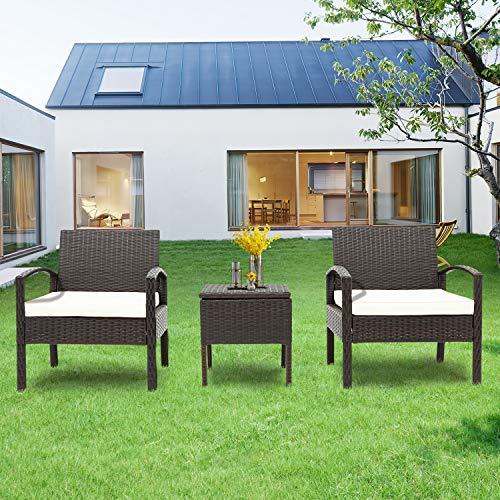 MINMIN Polyrattan Balkonmöbel Set 2 Personen–1 Tisch und 2 Sessel–Couchtisch mit Stauraum-Wetterfeste Gartenmöbel Set–für Garten, Balkon und Terrasse