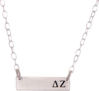 Delta Zeta Sterling Silver Horizontal Bar Necklace Greek Sorority Letter with Adjustable Chain dz