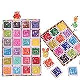 FLZONE Stempelkissen Set,24 Farben Fingerabdruck Stempelkissen Abwaschbar Tinte Stamp Pad für Kinder Stempel Scrapbooking Art Craft Card Making