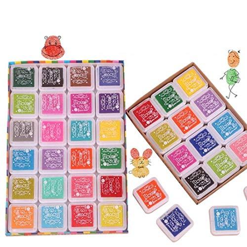 FLZONE Sellos para Niños,24 Colores Finger Almohadilla de Tinta Almohadilla Tinta para Sellospara Sellos de Goma Scrapbooking Art Craft Card Making