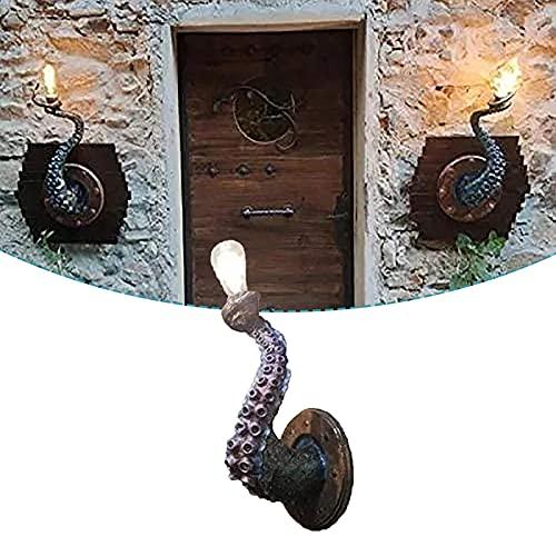 ZURITI Octopus Tentacle Monster Bombilla, lámpara de tentáculo de Pulpo Colgante en la Pared, portalámparas de tentáculo de Pulpo, iluminación Estilo Barco Pirata Ideal para Entrada, Sala de Estar