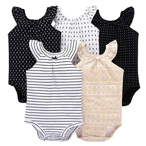 Pack de 5 Bebé Niñas Body Mono de Sin Mangas Mameluco Algodón Peleles Pijama Regalo de Recien Nacido