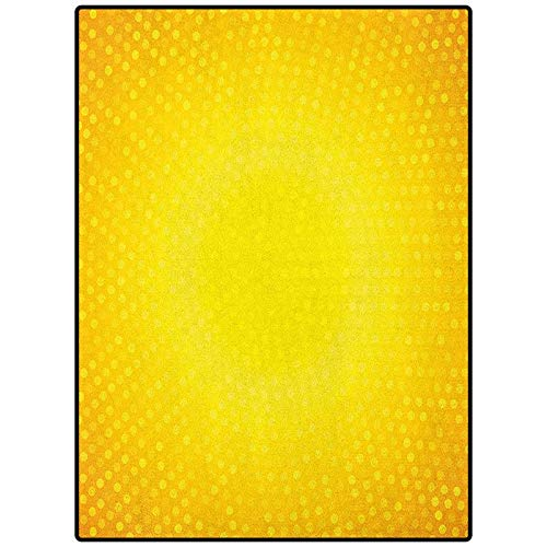 Yellow Geometric Pattern Rug Indoor Outdoor Kids Play Mat Nursery Throw Rugs Illustration Artwork with Ombre Style Circle in Shades of Yellow Dots White Yellow and Merigold 48' x 24'