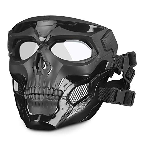 Huntvp Taktische Maske Schädelmaske Militär Schutzmaske Herren Gesichtsmaske Tactical Mask für CS Cosplay Halloween Outdoor, Typ-1 Schwarz