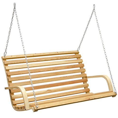 AMANKA Garden Wooden Porch Swing Swinging Bench Hollywood Swing Seat of Larch Wood Chair with strong Metal Binding Perfect for Indoor and Outdoor WITHOUT Frame