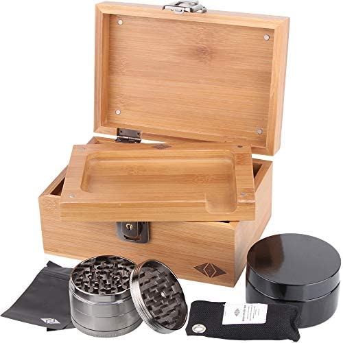 Premium Stash Box Kit with Lock and Bamboo Wood Rolling Tray Combo 100 mL Airtight UV Smell product image