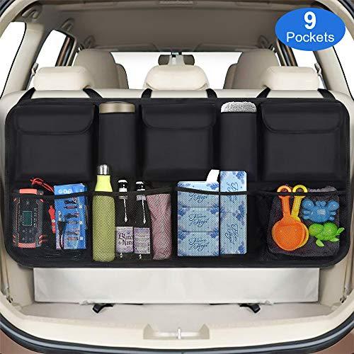 phixilin Kofferraum Organizer Auto, Upgrade Auto Aufbewahrungstasche mit 9 Taschen Klett Befestigung Wasserdichten Oxford-Tuch Kofferraumtasche Auto für SUV/MVP, Schwarz (106x52cm)