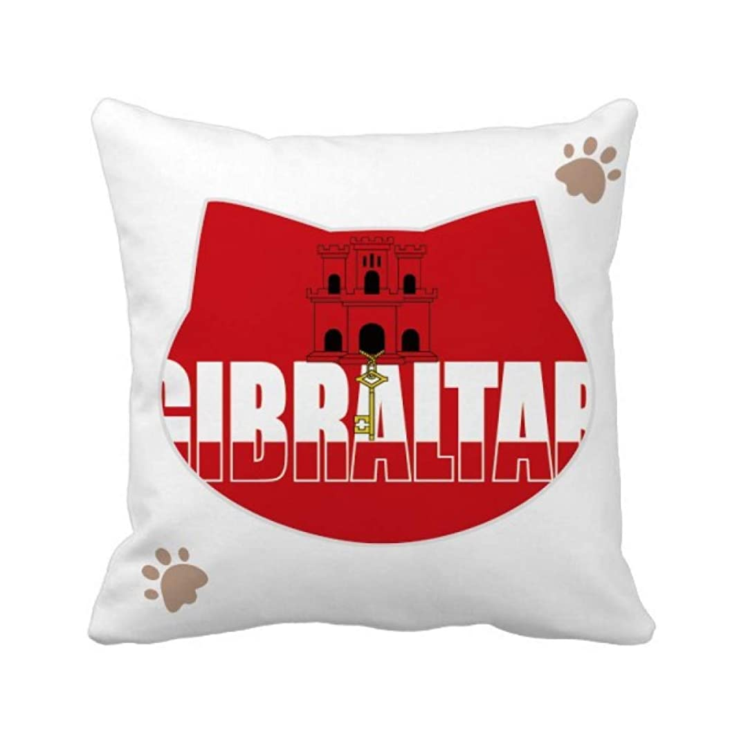 アクセスできない肉腫窒素ジブラルタルの旗国の名前 枕カバーを放り投げる猫広場 50cm x 50cm