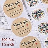 MENGYUE 500 Uds Kraft Redondo Pegatinas de Agradecimiento Scrapbooking papelería Sello-Etiquetas Pegatina Embalaje de Regalo Pegatina de papelería Hecha a Mano
