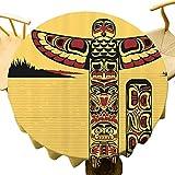 Native American Decor Collection Mantel redondo Ilustración de un tótem de América del Norte Espíritu Antiguo Nativo Artprint Diseño único Amarillo Rojo Negro Diámetro 71 pulgadas