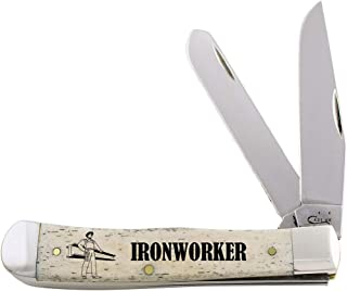 CASE XX WR Pocket Knife 1067612 Iron Worker Natural Smooth Bone Trapper